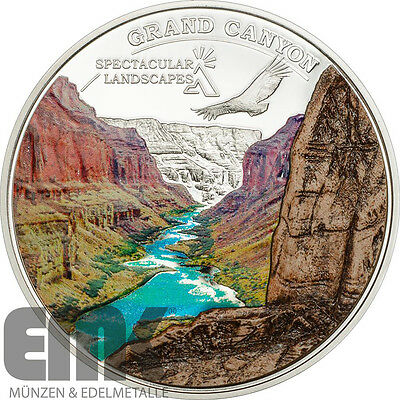 Cook Inseln - 5 Dollar 2014 - Grand Canyon - Silber Polierter Platte mit Marmor