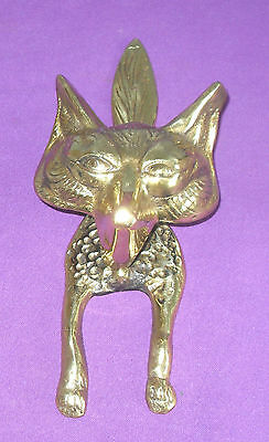 "Vintage Large And Heavy Fox Solid Brass Door Knocker 10.5"" In Length"