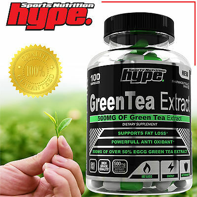 HYPE Sports Nutrition pure premium Green Tea Powder Extract 100 x 500mg capsules
