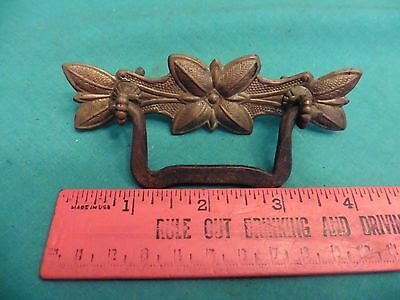 1 Vintage brass & metal handle dresser drawer pull night stand knob flower