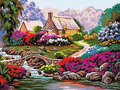 Grafitec Printed Tapestry/Needlepoint Canvas – Garden by the Old Stone Bridge