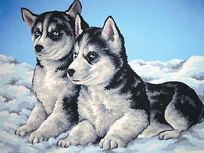 Grafitec Printed Tapestry/Needlepoint Canvas – Husky Puppies (Chiots Husky)