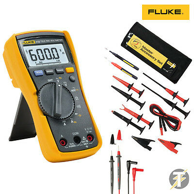 Fluke 115 True RMS Multimeter | TLK-225 Master Accessory Set | Probes and Clips