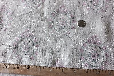Lovely Antique French Time Worn Pink Roses & Bows Home Decor Linen Fabric c1910