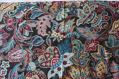 Exotic French Antique 19thC Home Dec Indienne Block Printed & HandPainted Fabric