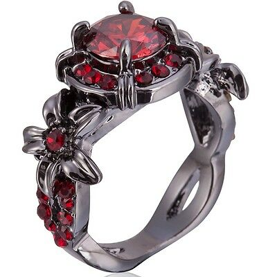 Size 4-12 Black Red Stone  Crystal Ring Wedding Cluster Cocktail Anniversary