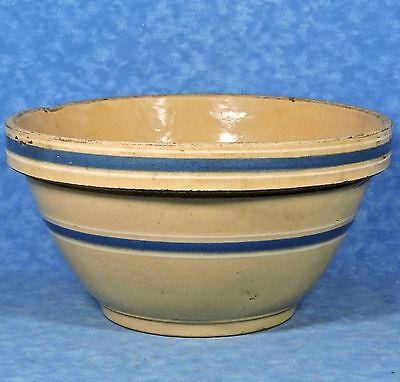 Antique WATT Yellow Ware #10 Blue & White Band Pottery Mixing Bowl