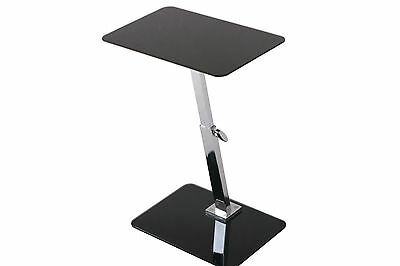 Height Adjustable Black Glass Laptop Table With Chrome Led Tablet