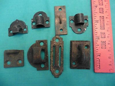 LOT Vintage Metal Door lock Plate Keeper Receiver hardware cast iron brass metal