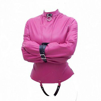 New design PINK faux leather straight jackets, goth, sissy, corset
