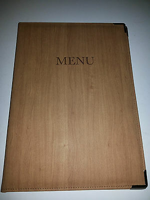 Qty 10 (ten) NEW -- A4 P U MENU COVER IN WOOD EFFECT LOOK - RED MAHOGANY LOOK