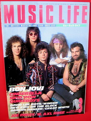 Music Life Japan magazine March 1991 Bon Jovi Cinderella Skid Row Quireboys Axl