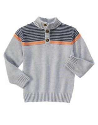 GYMBOREE HAPPY HARVEST GRAY w/ NAVY & ORANGE STRIPE SWEATER 4 5 6 7 8 10 12 NWT