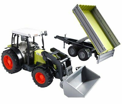 Bruder #02112 ClaasNectis 267 F Tractor with Front Loader and Tipping Trailer!