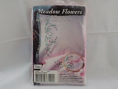 New Meadow Flowers  Pink Stamped Embroidery Pillowcase Pair Kit #232002 St42