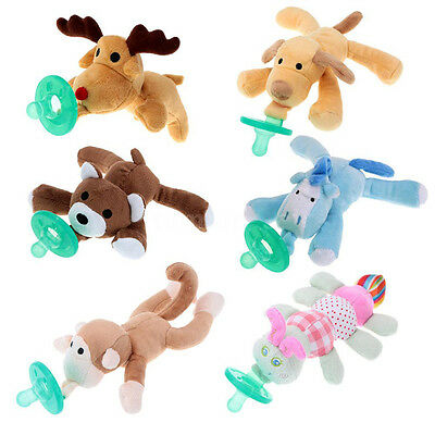 1PC Infant Baby Soothie Boy Girl Silicone Pacifiers with Cuddly Plush Animal New
