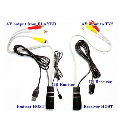 composite RCA AV extender IR Infrared Repeater by cat5e/6 cable