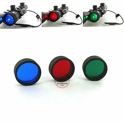 3 Red Blue Green Beam Flashlight Torch Filter For Air Rifle Hunting Light