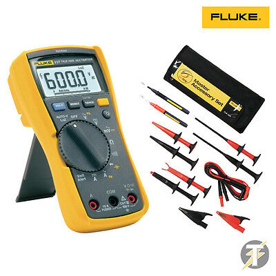 Fluke 117 True RMS Digital Multimeter KITI, TLK-225 Accessory Set Probes & Clips