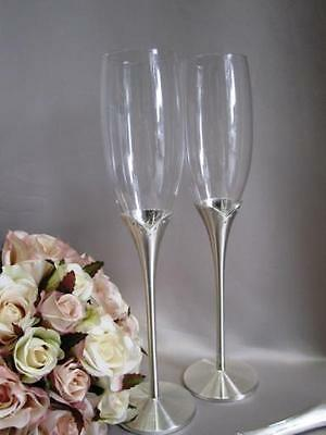 Wedding Toasting Champagne Glasses Flutes Silver Stem Tulip Diamante Accent Gift