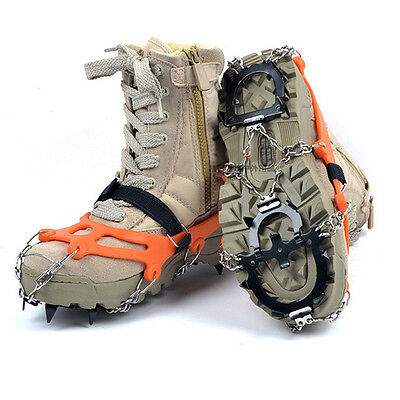 Anti Slip12-teeth Ice Snow Hiking Shoe Boot Spikes Grips Crampons Cleats Chain