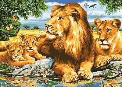 Grafitec Printed Tapestry/Needlepoint Canvas – Lion Family