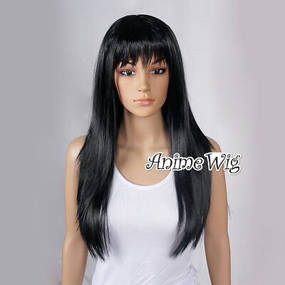 Anime Hair Straight Ladies Long Black 60cm Party Wig Cosplay Women  Full Wig
