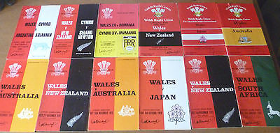 12x Wales v Touring Teams, Match Programmes, 1970-84.