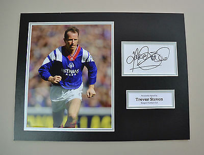 Trevor Steven Signed 16x12 Photo Autograph Display Rangers Memorabilia + COA