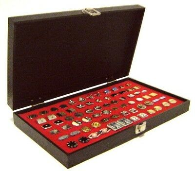 Grained Leatherette Solid Top Lid Red Cufflinks Display Organizer Storage Case