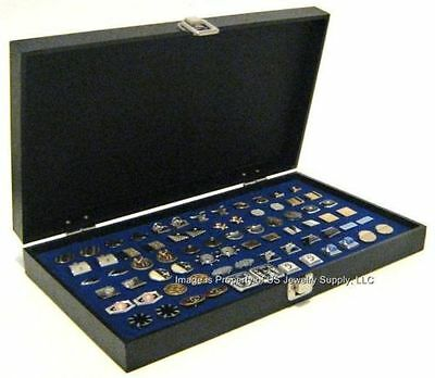 1 Wholesale Solid Top Lid Blue Cufflinks Display Portable Storage Boxes Case