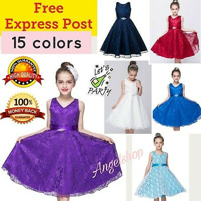 Lovely Lace Girls Dress Flower Girl Dress Formal Party Graduation Wedding Dress
