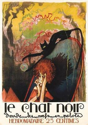 VINTAGE FRENCH REPRODUCTION ART DECO POSTER LE CHAT NOIR A4 or A3