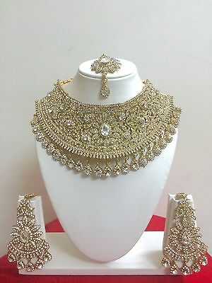 Bollywood Indian Bridal Necklace Earring Gold Party Wear Fashion Jewellery Set