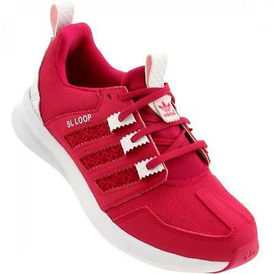 """Adidas pink SL Loop childrens synthetic running sports trainers S85624 """"B grade"""""""