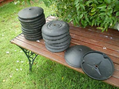 20 Weights 2.2 kg each Roumd Cast iron retro vintage each has a threaded hole