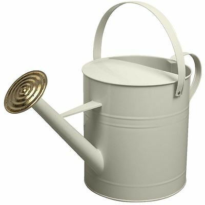 Garden Colour Galvanised Metal Steel Watering Can 9 Litre with Brass Rose CREAM