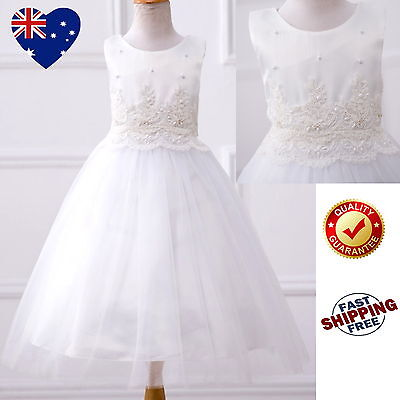Ivory Tulle Girls Dress Flower Girl Dress Vintage Wedding Party Communion Dress