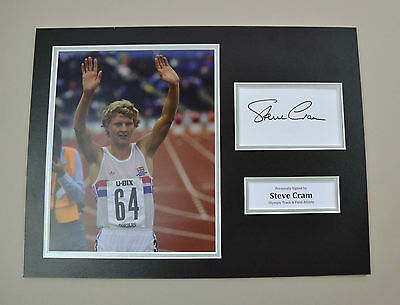 Steve Cram Signed 16x12 Photo Autograph Display LA Games Memorabilia + COA