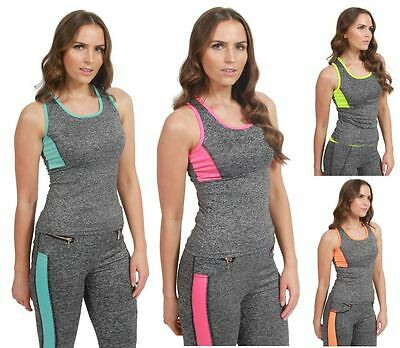 Womens Ladies Gym Fitness Panel Top Running Sports Yoga Wear