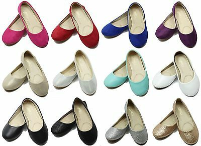 New Toddler Youth Girls Glitter Flats Mary Jane Dress Shoes Ballerina Girls Flat