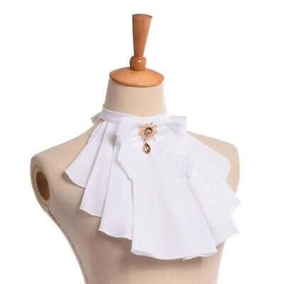 Vintage Women Jabot Neck With Bowknot Pins Punk Victorian Chiffon Ruffle Collar