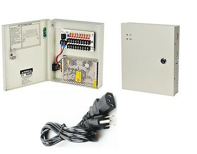 4 Port 12V DC 1.25A CCTV Power Distribution Box Adjustable Voltage 11-13.8V UL