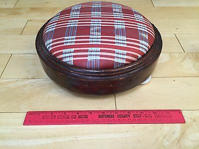 Vintage Americana Blue Red Stripes Footstool Wooden Base Four White Round Legs