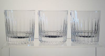 """INSPIRATION by STUART Old Fashioned Whisky Glasses 3 3/4"""", Signed, SET of THREE"""
