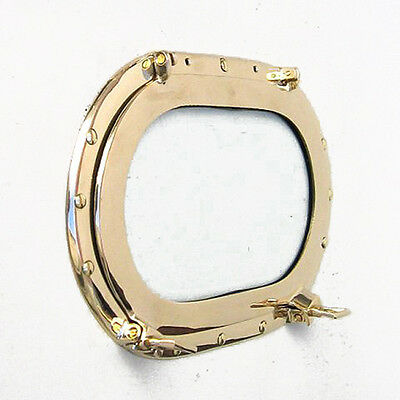 "Solid Brass Ship's Porthole Window 14"" Oval Glass Oblong Nautical Wall Decor"