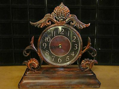 Antique Look Brushed Metal  Quartz Clock Mantle Style Brand New ONLY 4 LEFT