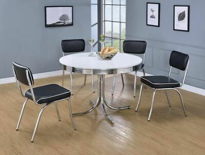 50's Retro 5 Piece Round Dining Table and Black Chair Set by Coaster 2388-2066