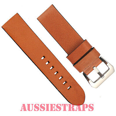 NS Vintage TAN BROWN Leather PreV Panerai style Buckle watch band strap Pre V