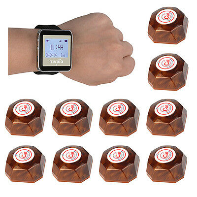 Wireless Calling Paging System+1 Watch Receiver+10 Call Button for Restaurant